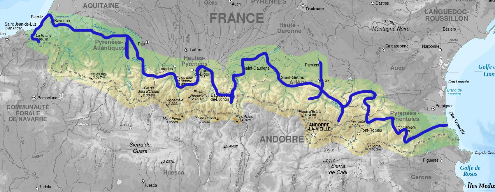 carte traversée des pyrénées à vélo La Traversée des Pyrénées à vélos à assistance électrique   2013